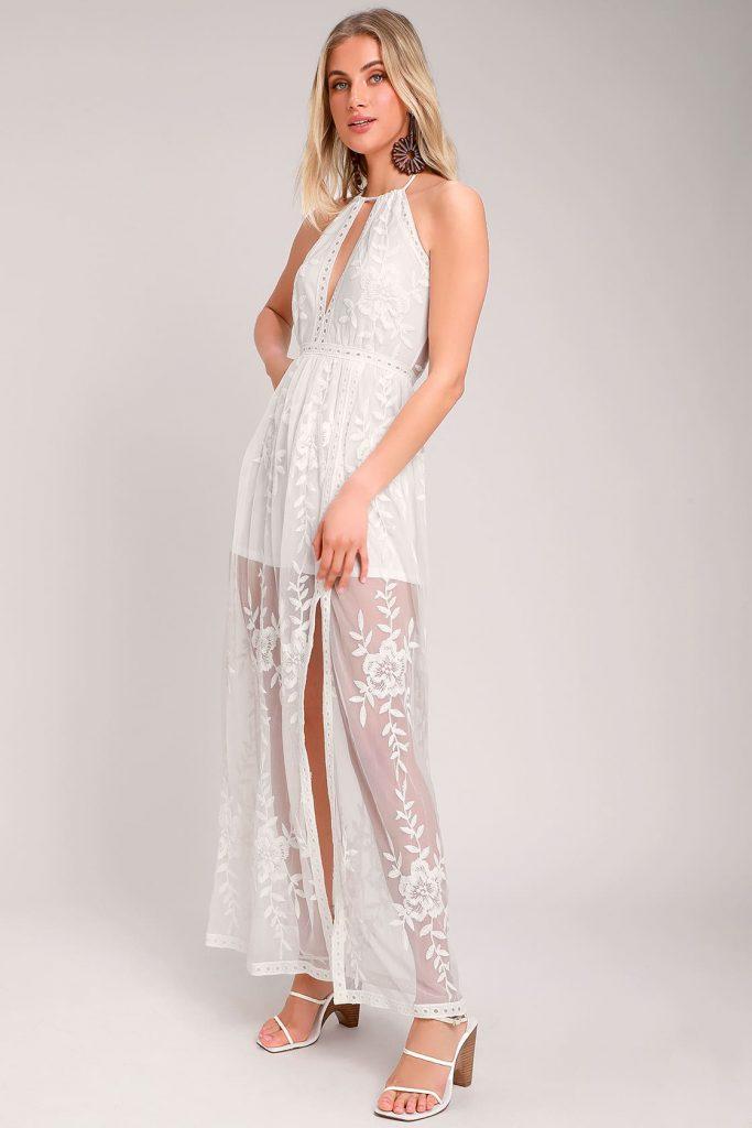 bohemian see through overlay wedding dress