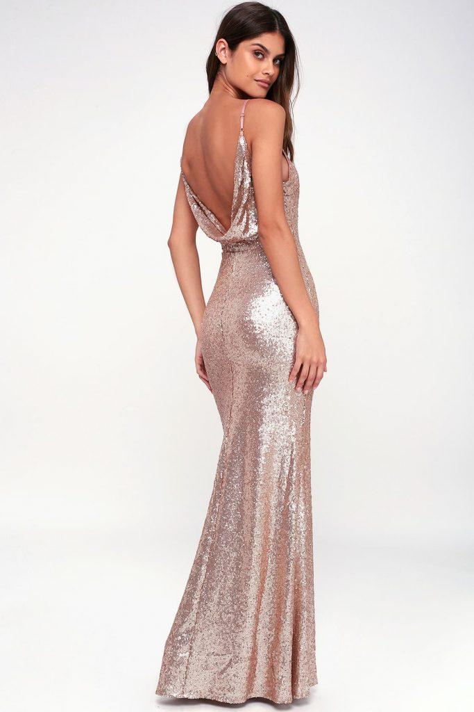 low back maxi wedding reception dress in rose gold. sparkly bridal fashion.