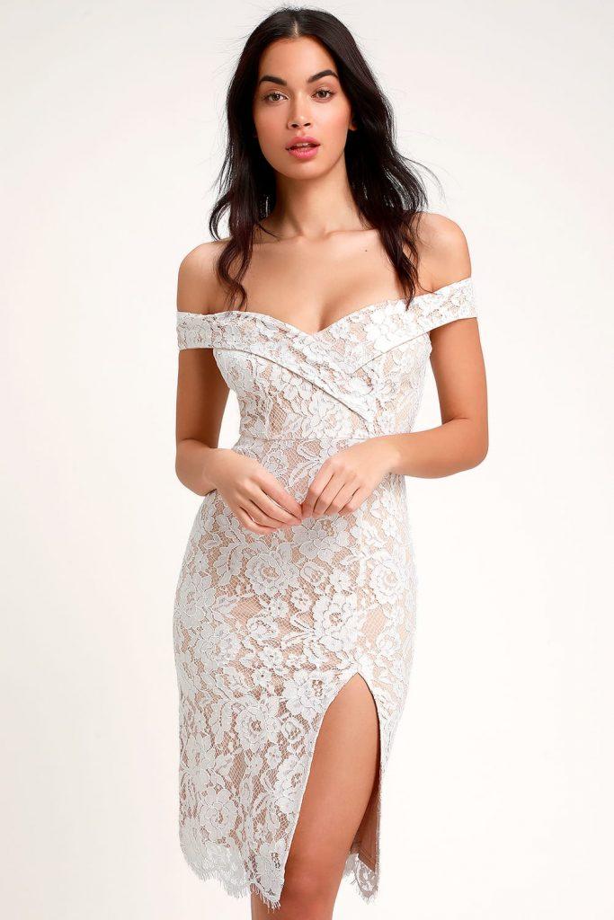 off shoulder short lace wedding dress