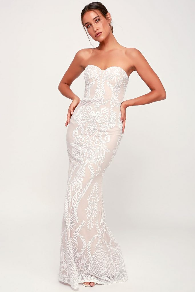 strapless nude wedding dress with white embroidery
