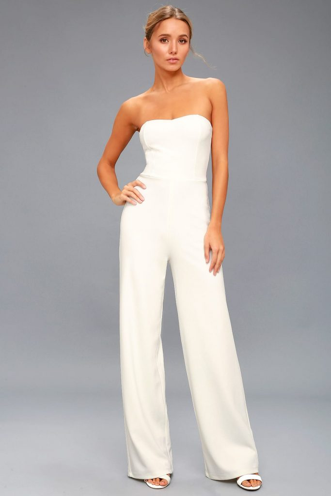 elegant pantsuit. sleeveless. in white. chic and affordable bridal fashion ideas for the wedding reception.