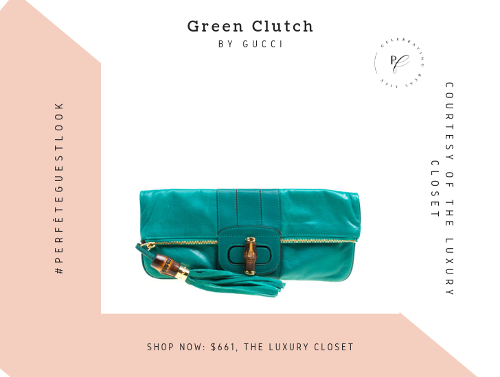 green designer clutch - perfête wedding guest looks outfit inspiration and ideas