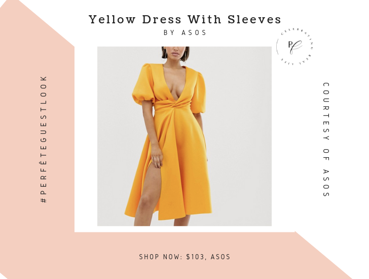 yellow dress with bell sleeves by asos - shop now photo - wedding guest dresses ideas and inspiration