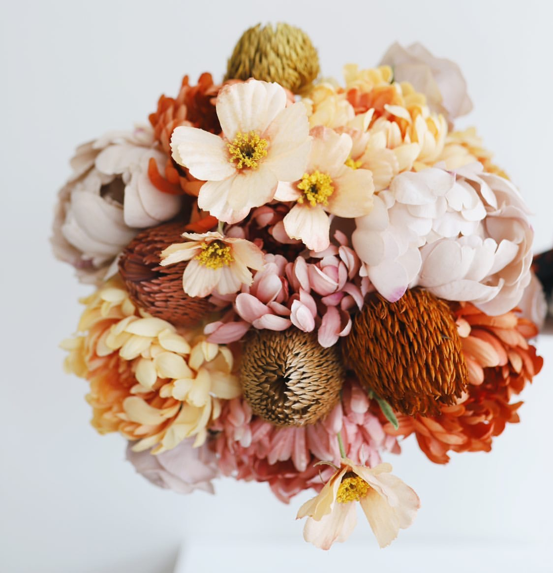 faux flowers for fall wedding bouquet