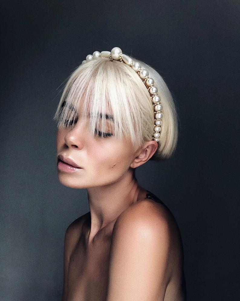 Pearl beaded headpiece for wedding day