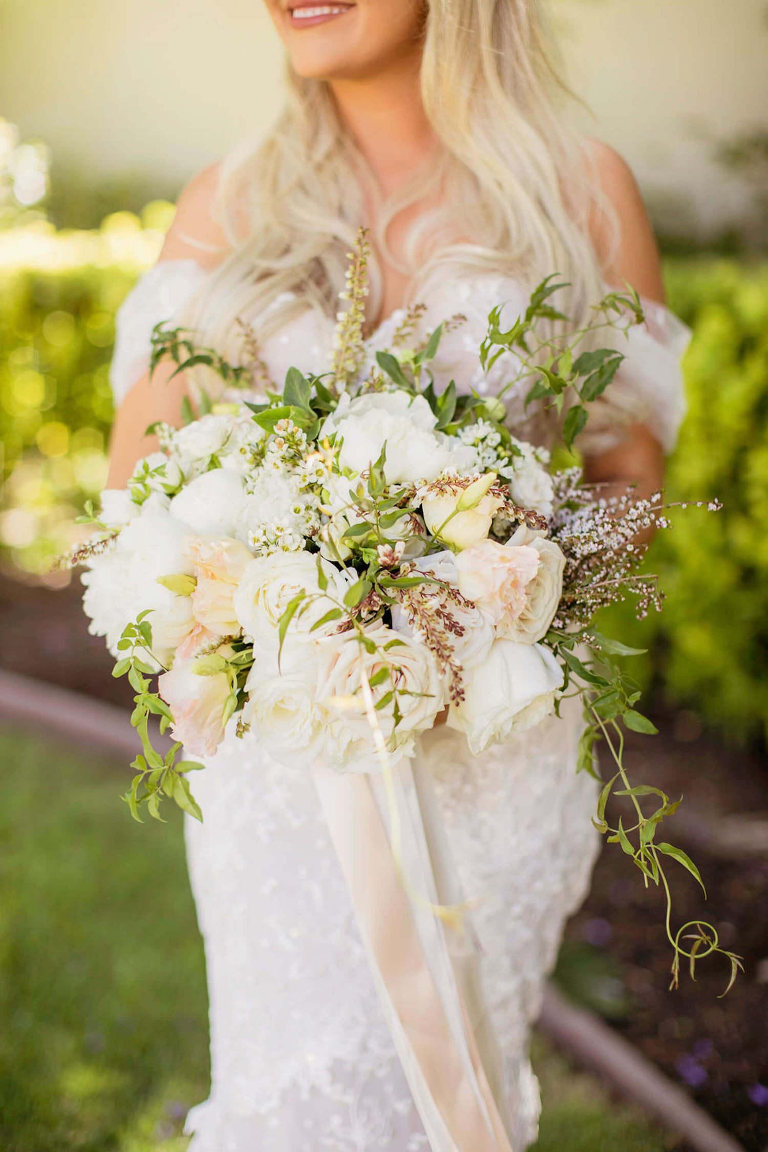 Lush wild white flowers