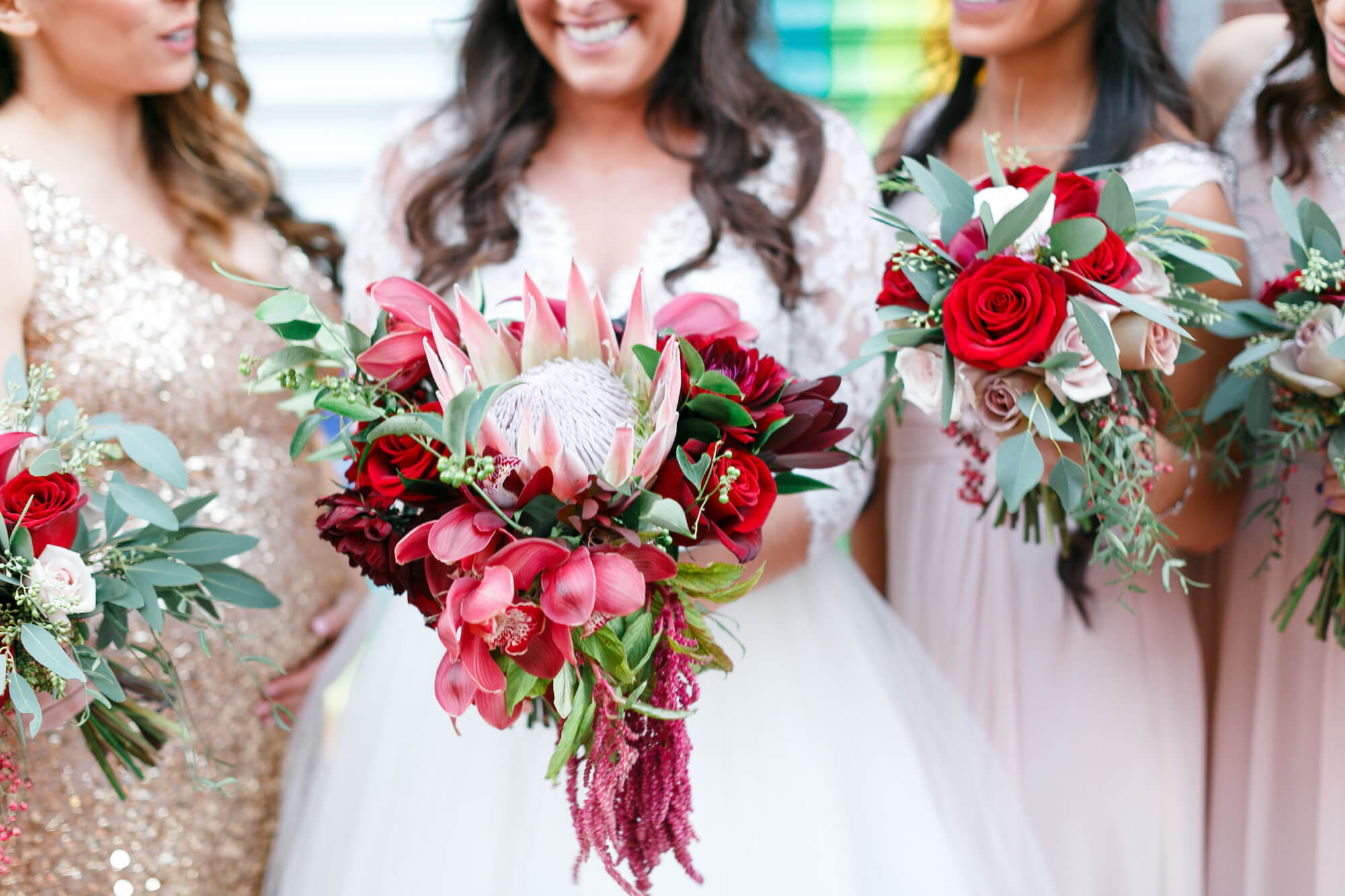 Large protea fall wedding bouquet