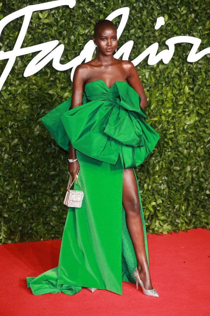 Adut Akech Green Evening Gown British Fashion Awards