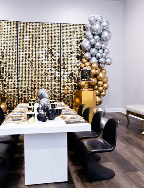 Black White and Gold Kids NYE Party Ideas _4