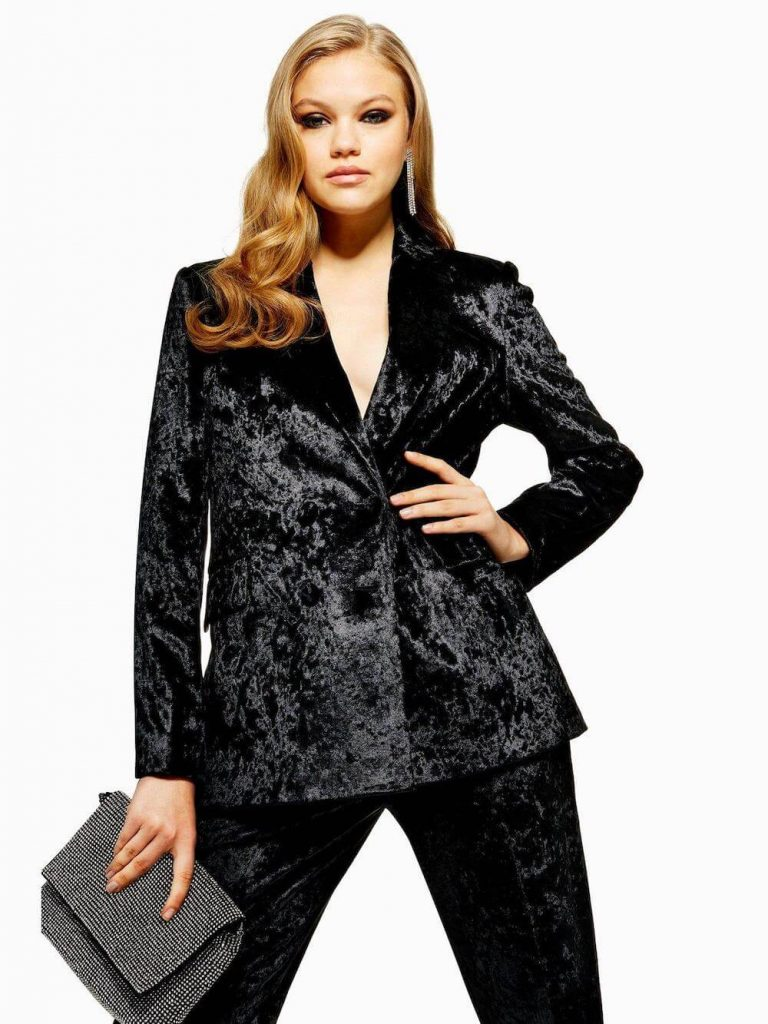 Bonded Velvet Jacket by Topshop
