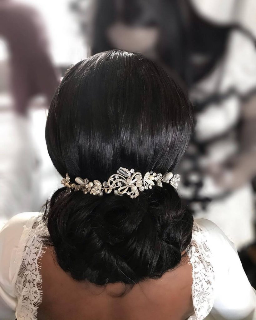 low chignon bridal hair