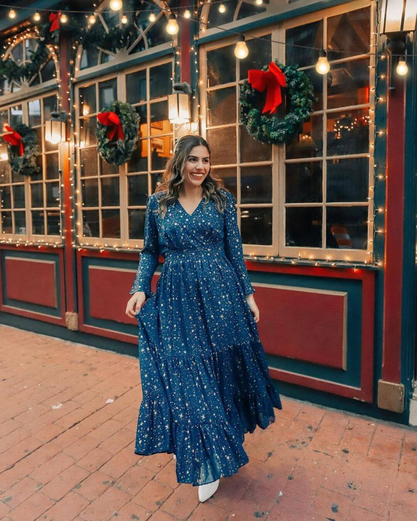 starry blue dress for holiday party