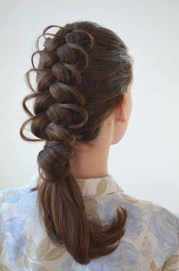 elaborate french braided bridal hairstyle for wedding