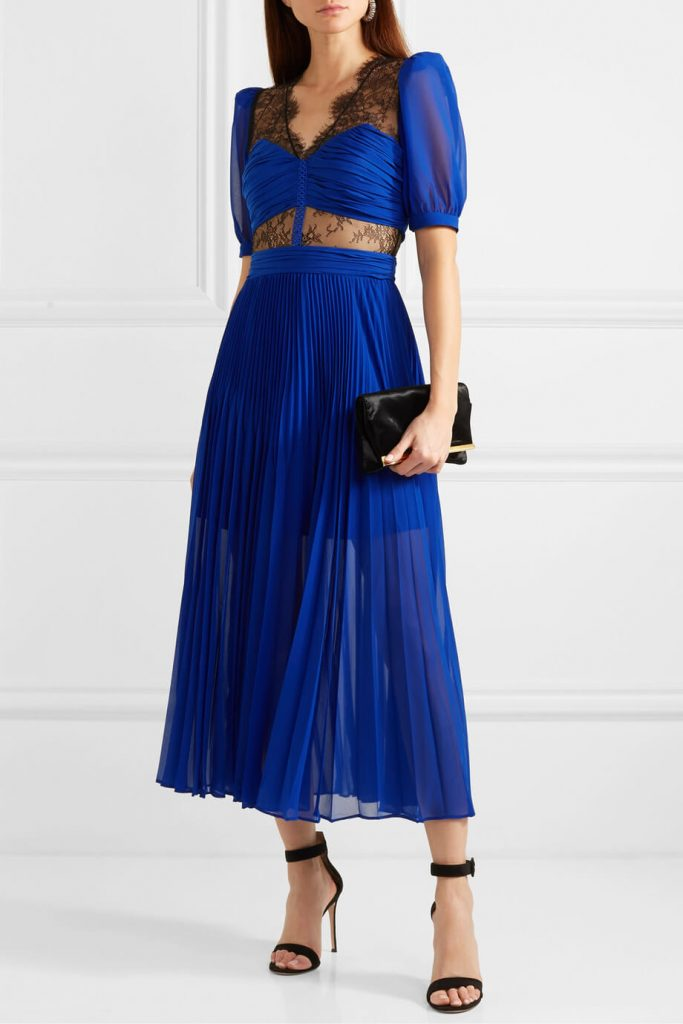 Blue Chiffon Dress by Self Portrait