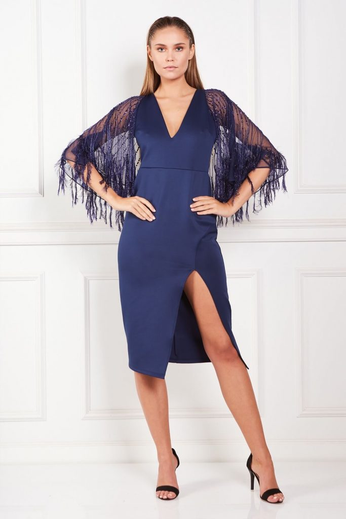 feather cape holiday dress by asos