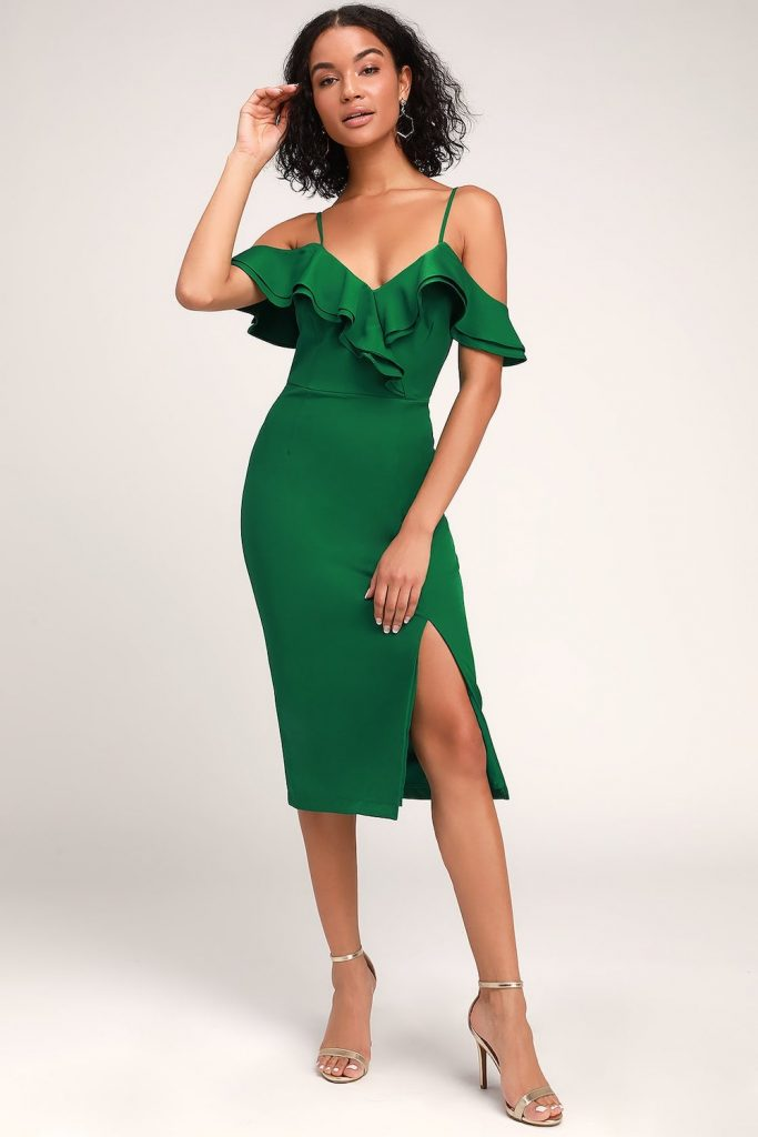 off shoulder body con dress