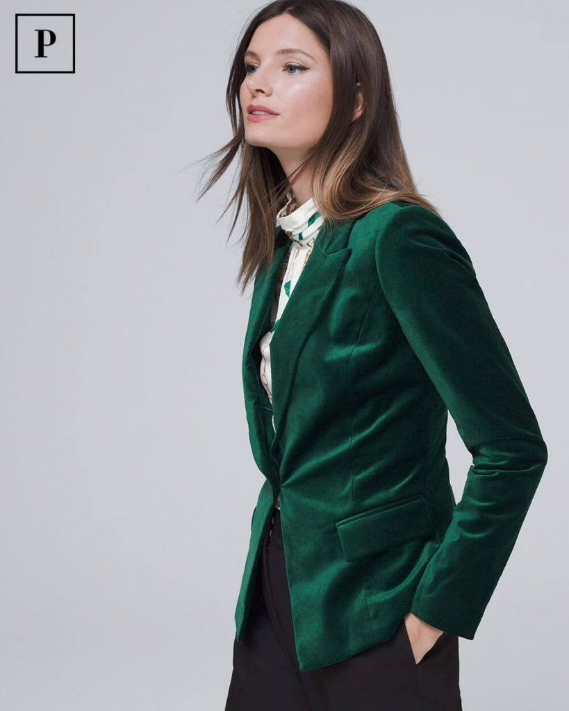 green velvet blazer by white house black market