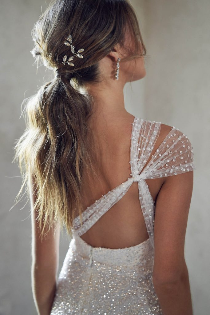messy ponytail bridal hair- anna campbell wedding dress