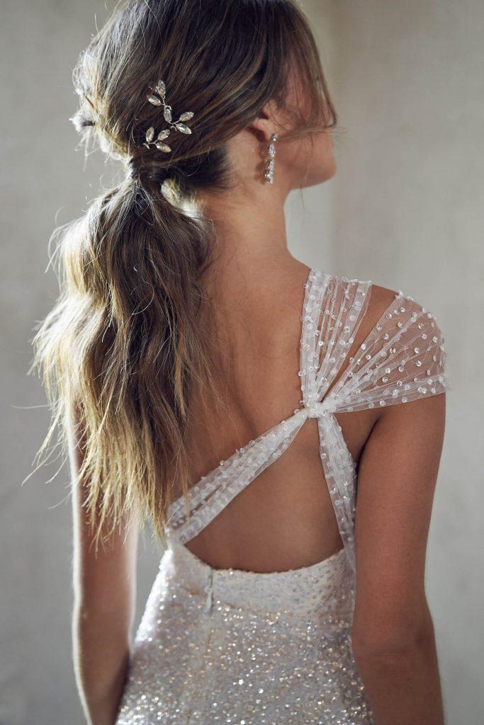 messy ponytail bridal hair- anna campbell wedding dress