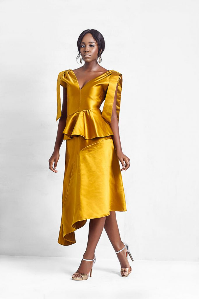 tie strap gold holiday dress