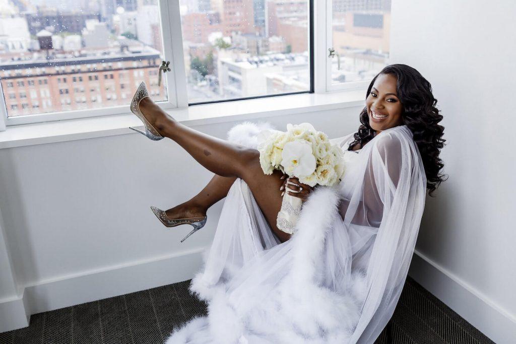 wedding hairstyles for black brides -makini_regal_wedding dress