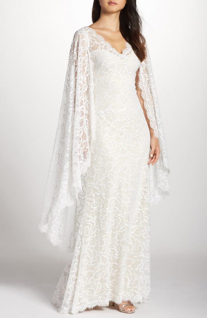 Lace Cape wedding dress by Tadashi Shoji