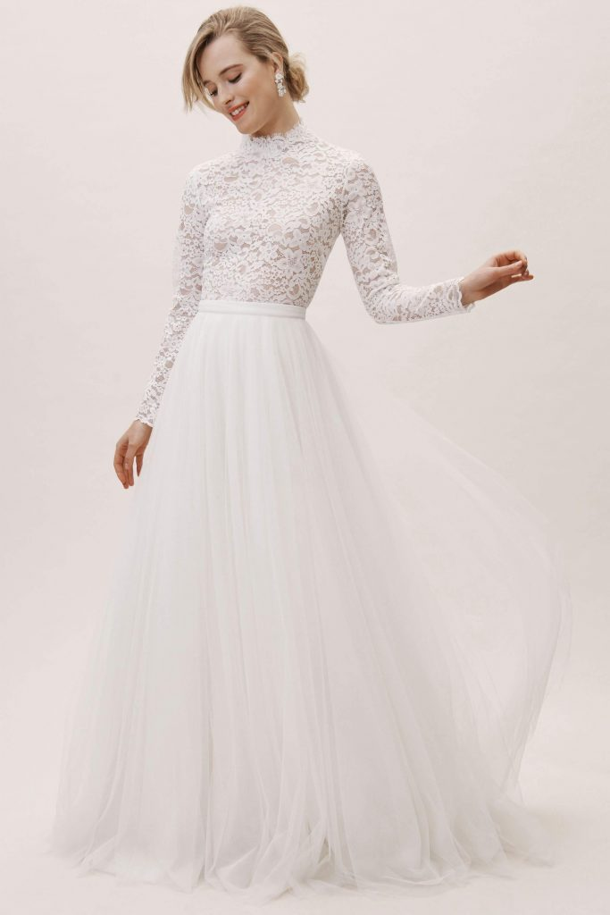 Long sleeve lace wedding dress under 1000 by bhldn