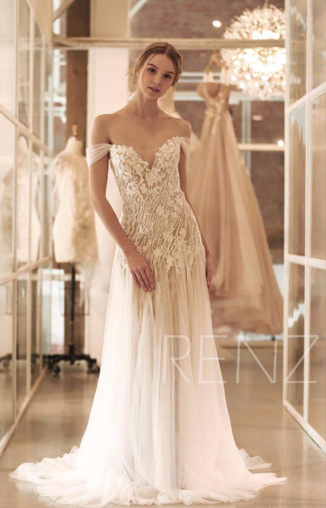 off shoulder illusion lace dress
