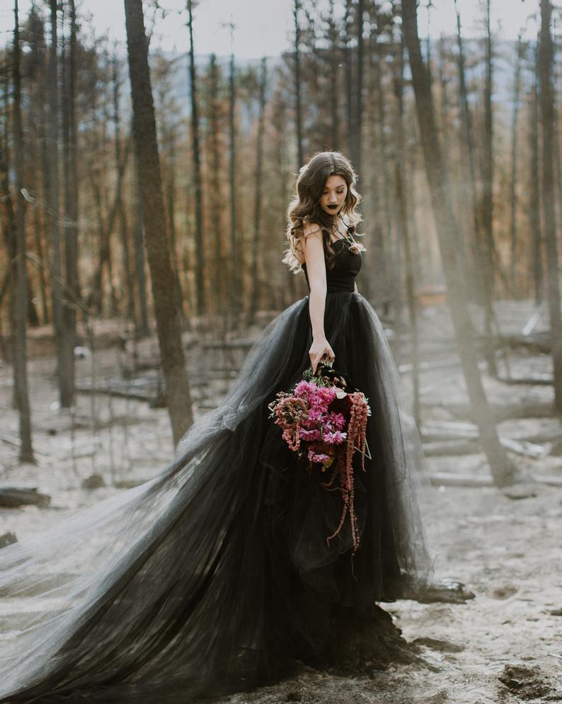 off shoulder black tulle wedding gown