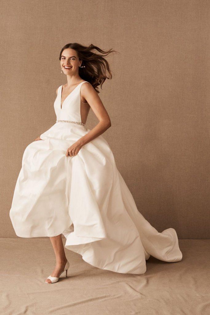 sleeveless plunge ballgown