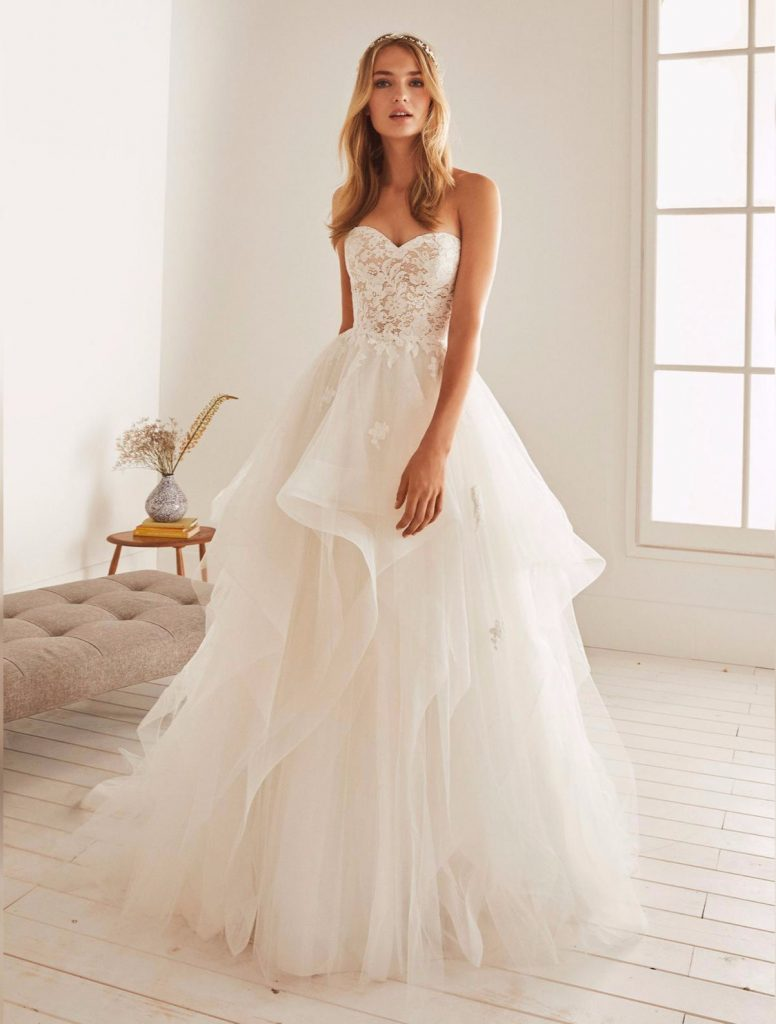 strapless wedding dress with tulle ball gown