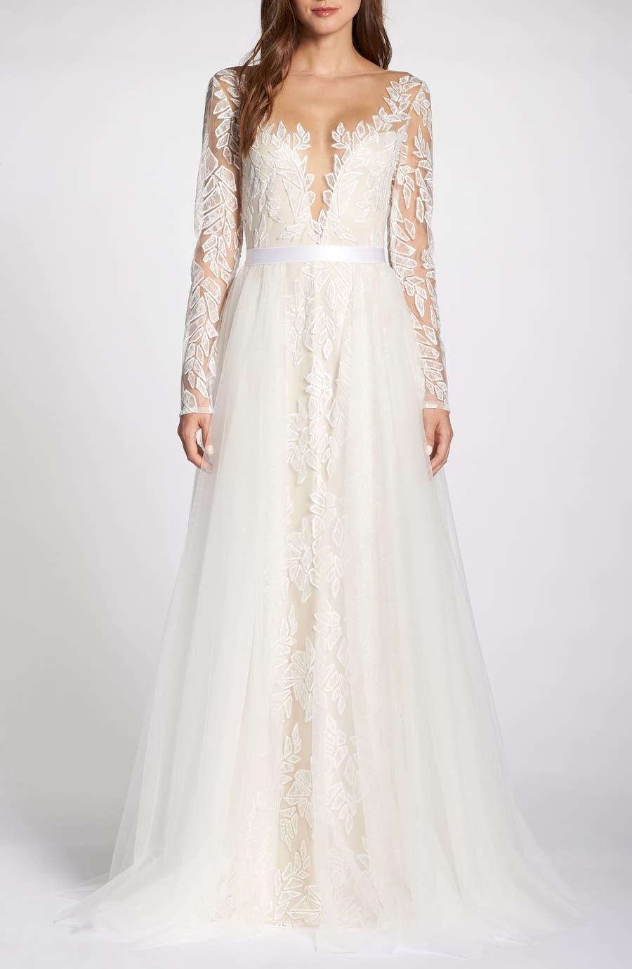illusion long sleeve wedding dress
