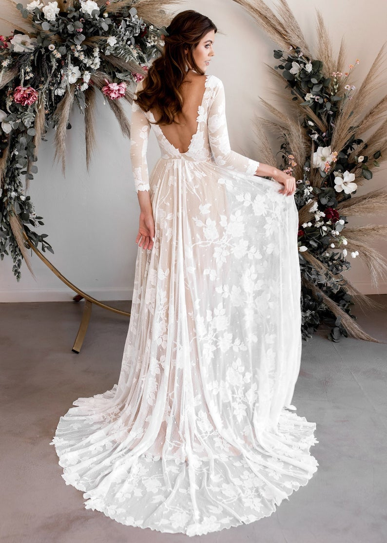 plunge back wedding dress with flower appliqué