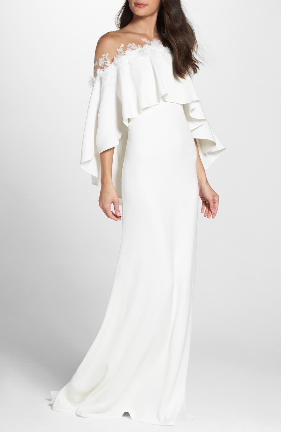 cold shoulder overlay wedding dress