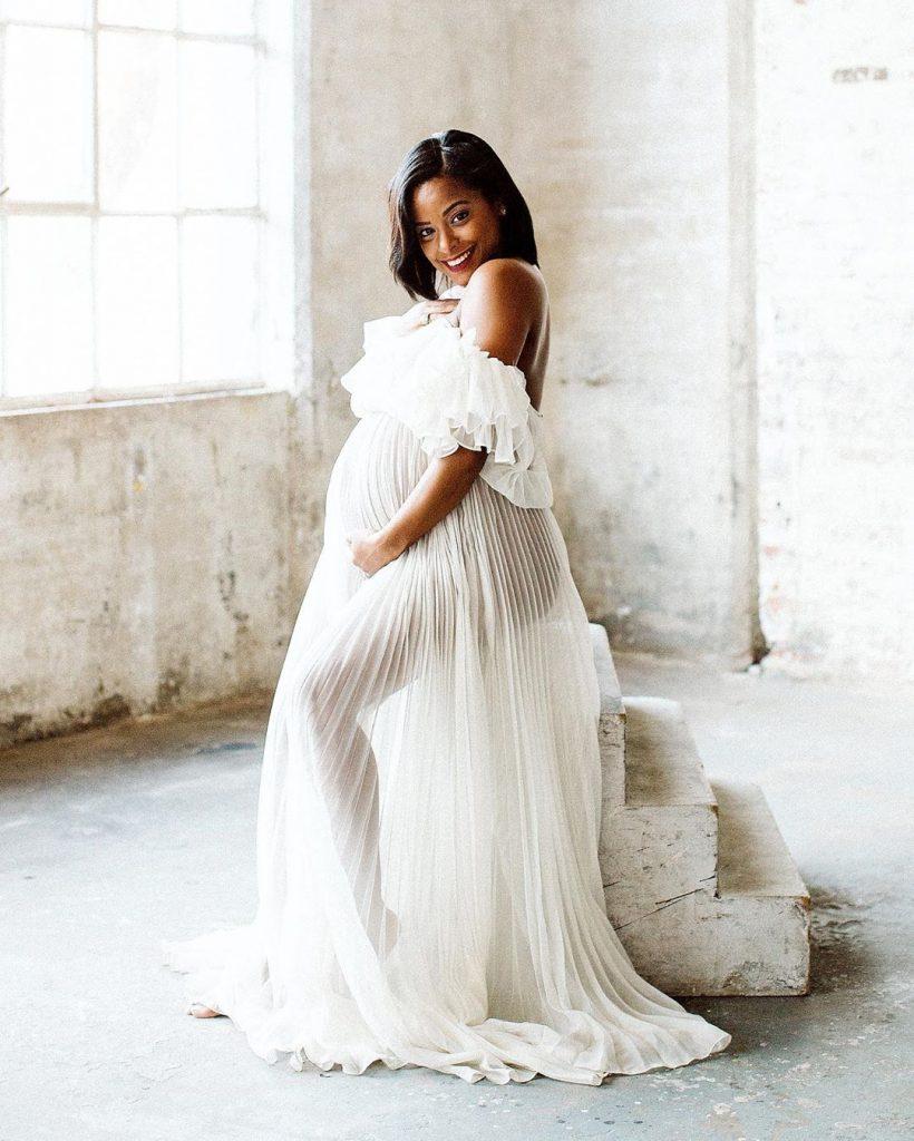 White Off shoulder maternity dress