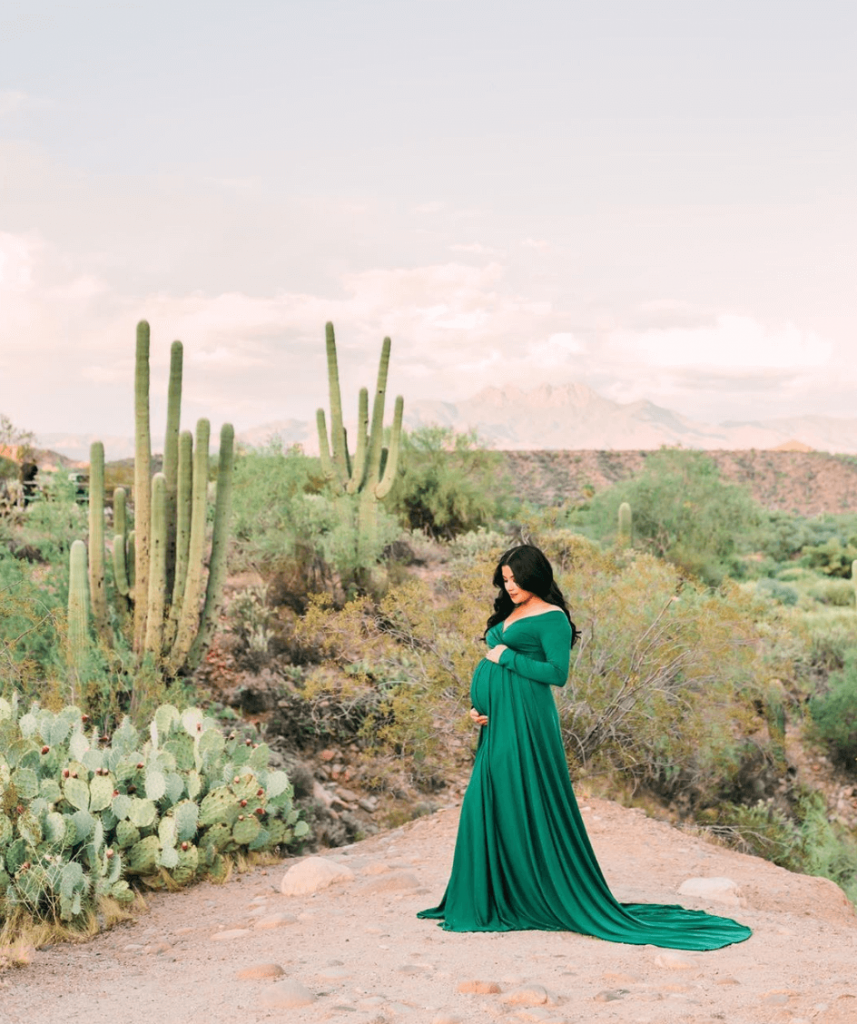 green maternity dress in desert shoot