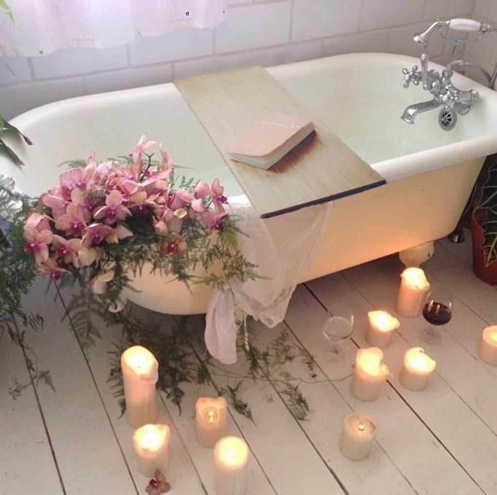 self care birthday party in bath tub