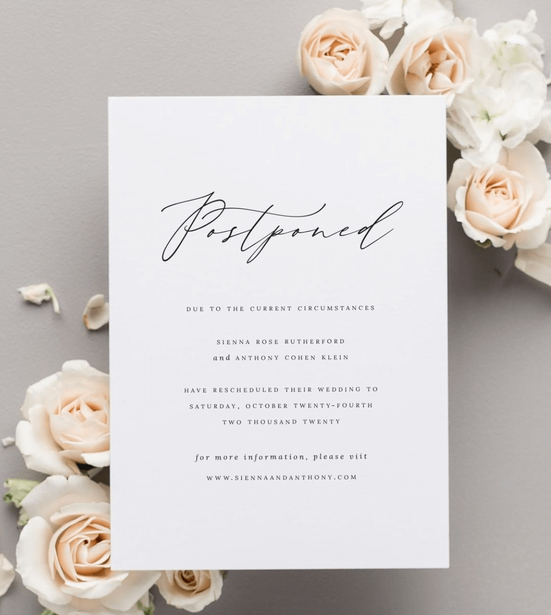 postponed wedding invitation