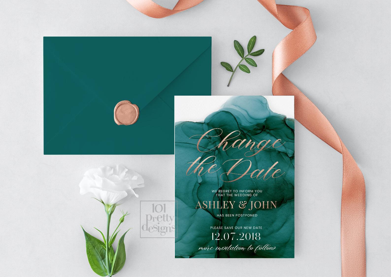 watercolor change the date invite