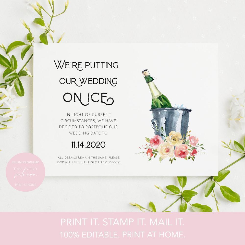 printable digital wedding date change invite