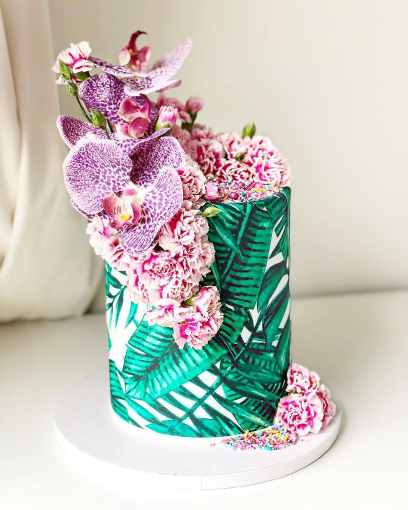 tropical summer cake with orchids