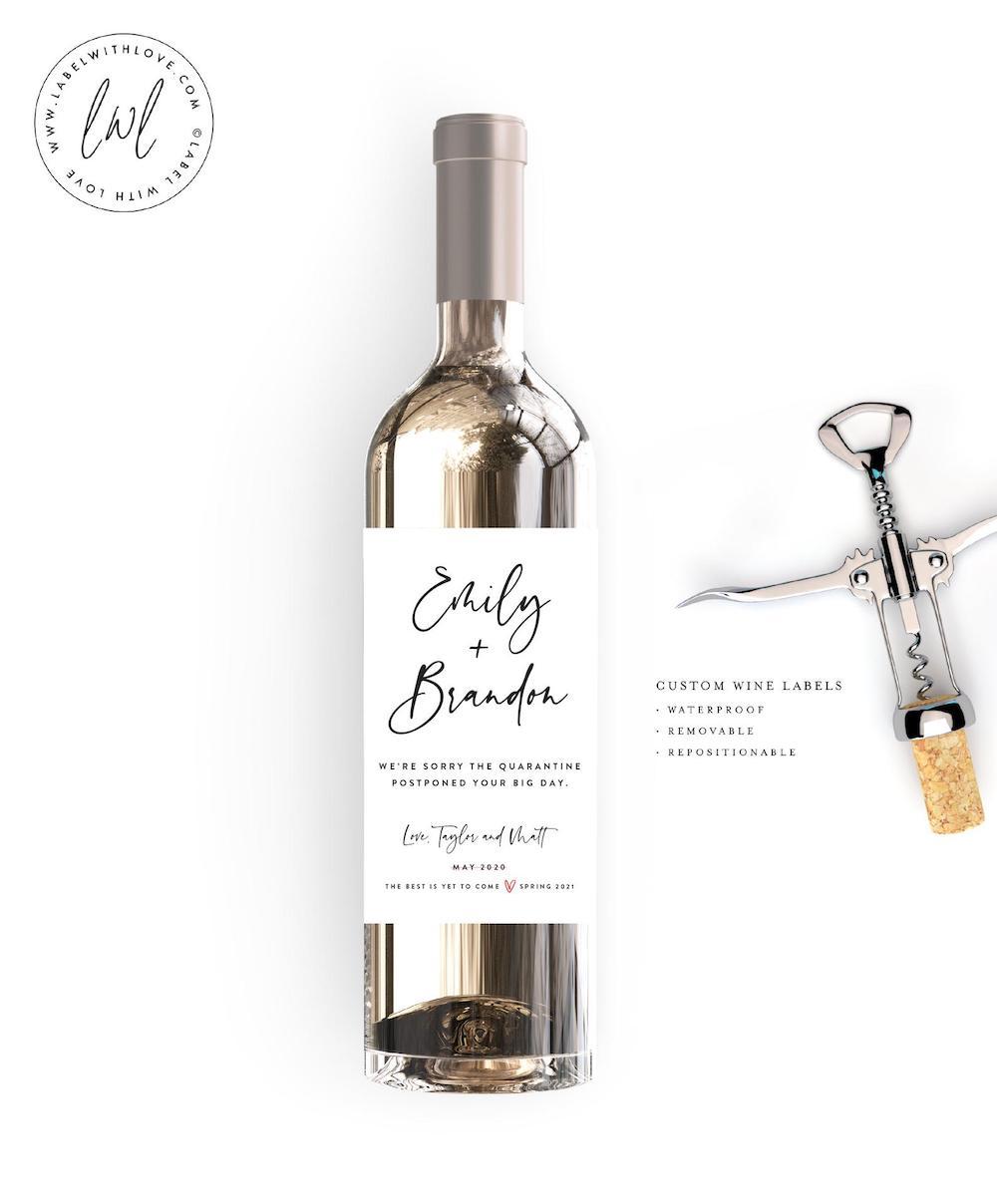wedding date change wine bottle