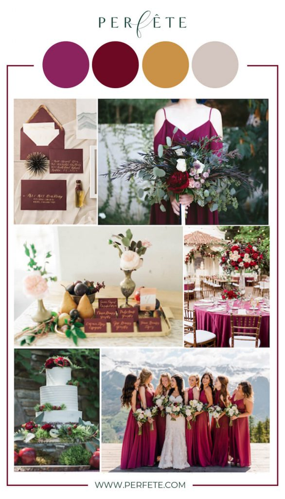 burgundy and greenery wedding