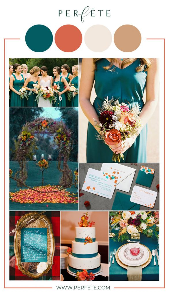teal and orange wedding colors