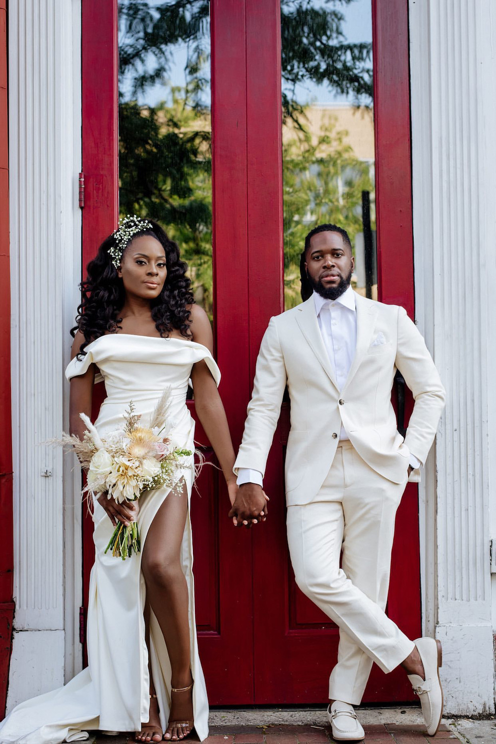 off-shoulder long wedding dress with slit
