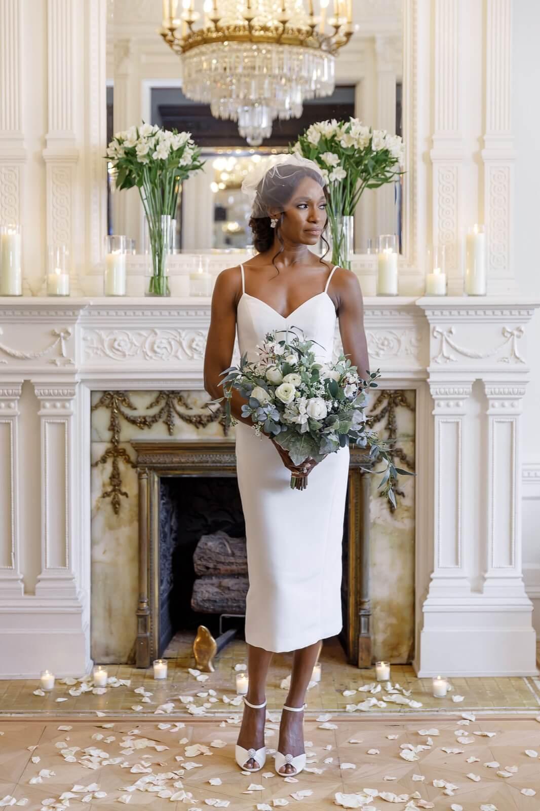 Tea length strap dress for civil ceremony elopement-2
