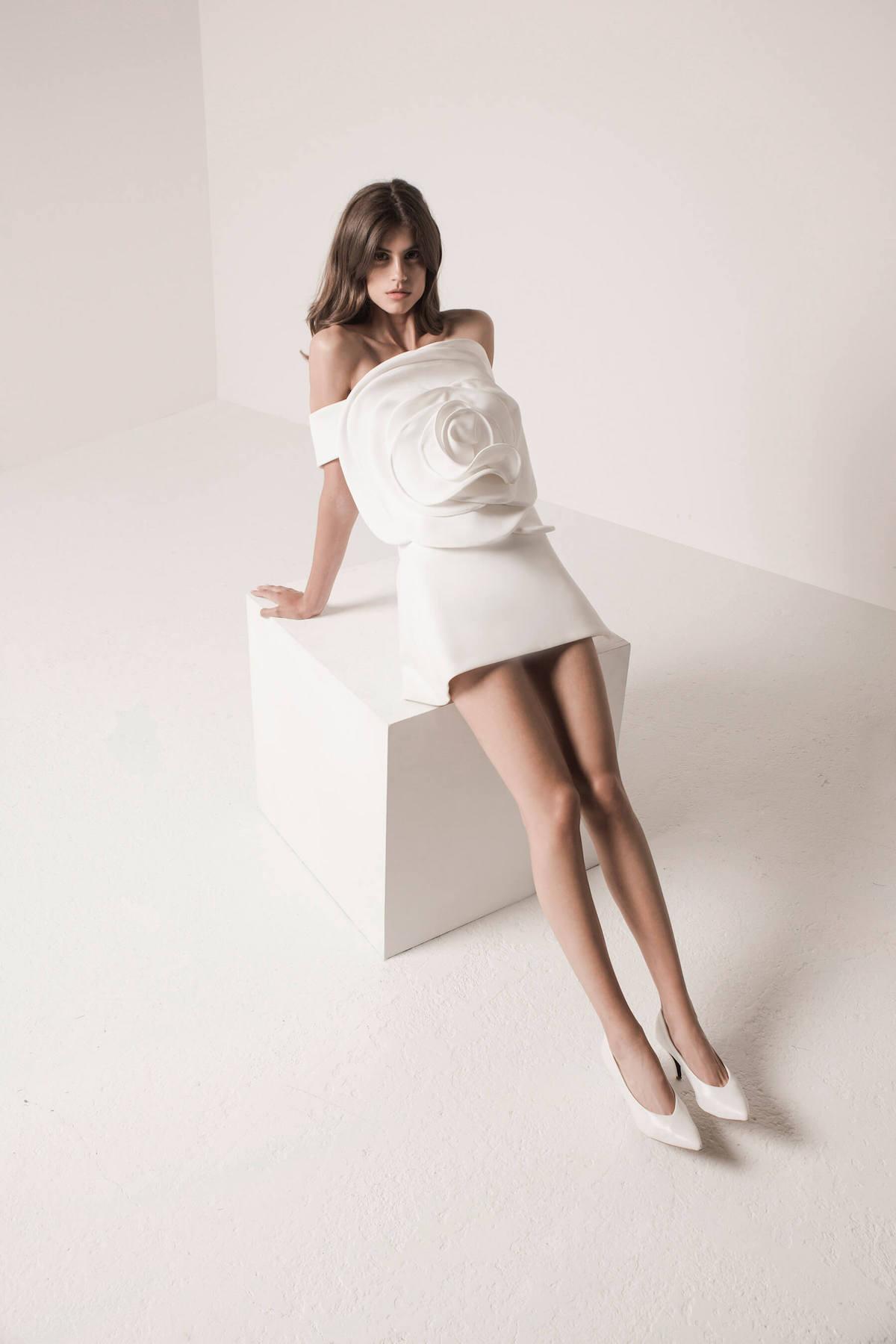 little white dress with oversized flower