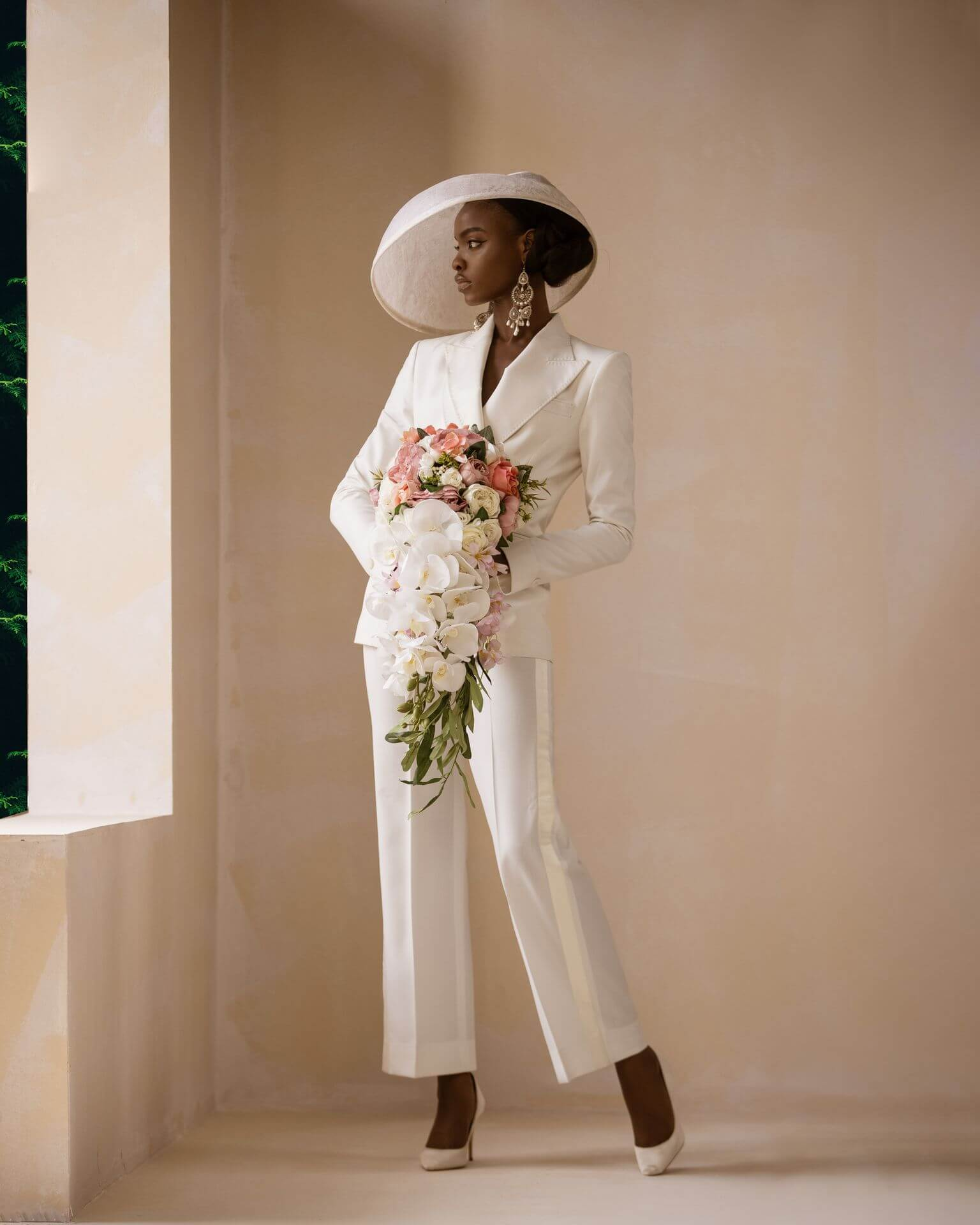 White Bridal Pantsuit for Civil Weddin