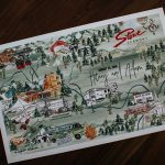 Custom painted wedding invitation highlights the Vermont resort location of Hilary and Adam's ski resort wedding.