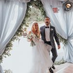 Bride and groom have jawdropping reactions to their venue first look as they enter their reception tent.